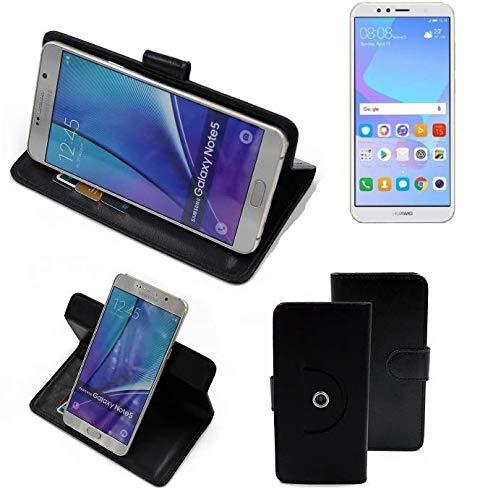 K-S-Trade® Case Schutz Hülle Für Huawei Y6 (2018) Dual-SIM Handyhülle Flipcase Smartphone Cover Handy Schutz Tasche Bookstyle Walletcase Schwarz (1x)