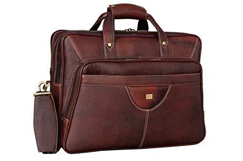 BRAND LEATHER Cuero de vaca de grano completo sólido de los hombres grande de 16 pulgadas portátil maletín mensajero bolsa Tote, marrón (Marrón), Large
