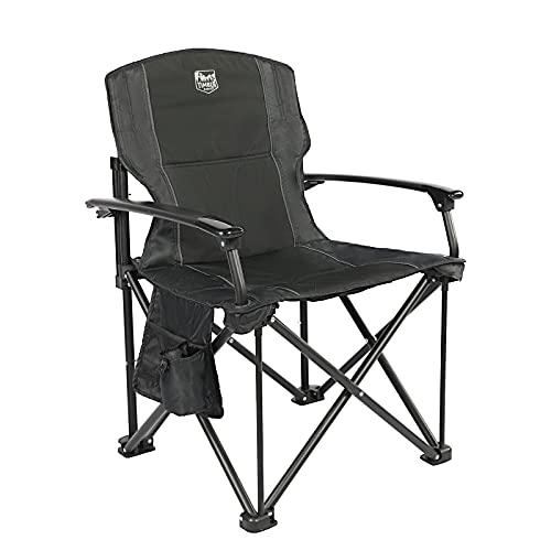Timber Ridge Klappstuhl Faltbarer Campingstuhl tragbar für Freien Angeln Balkon Angelstuhl mit Harter Armlehnen und Seitentasche belastbar bis zu 150kg