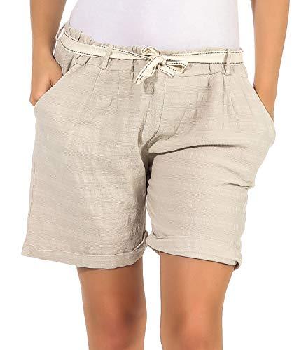 CLEOSTYLE Kurze Damen Bermuda,leichte luftige Shorts für den Sommer, Kurze Hose mit Gürtel für Freizeit und Strand 83 (36-42, Beige/Uni)