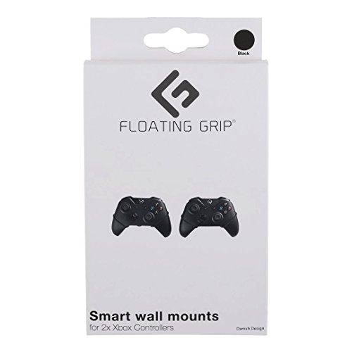 FLOATING GRIP Wall mounts for 2X Xbox Controllers | Black Ropes | Display Your Xbox One S/X or Xbox Series S/X Controllers on The Wall in The Super Slim and Smart Wall Mounts by FLOATING GRIP
