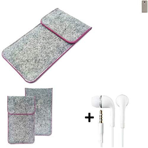 K-S-Trade Filz Schutz Hülle Für BQ Aquaris VS Schutzhülle Filztasche Pouch Tasche Hülle Sleeve Handyhülle Filzhülle Hellgrau Pinker Rand + Kopfhörer