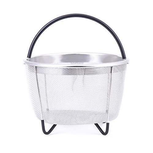 Dampfgarer für Instant Pot 8qt 6 Quart Kochen Dampfgarer 304 Edelstahl Pfannen Schnellkochtopf Zubehör Reis, Ei, Gemüse, Fleisch, Silikongriff spülmaschinenfest