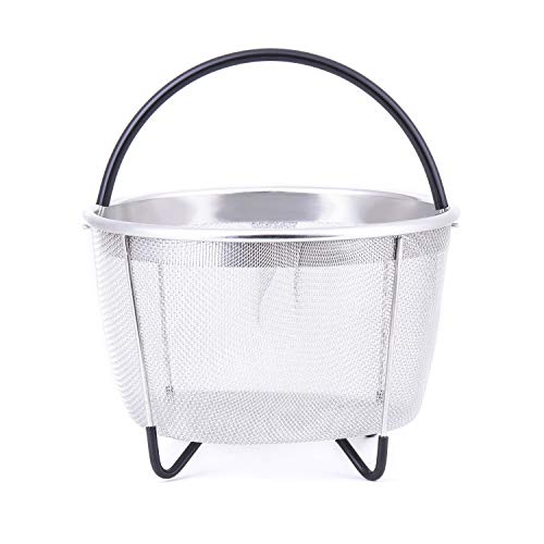 Steamer Basket for Instant Pot 8qt 6 Quart Cooking Steamers 304 Stainless Steel Pans Pressure Cooker Accessories Rice Egg Vegetable Meat Silicone Handle Dishwasher Safe