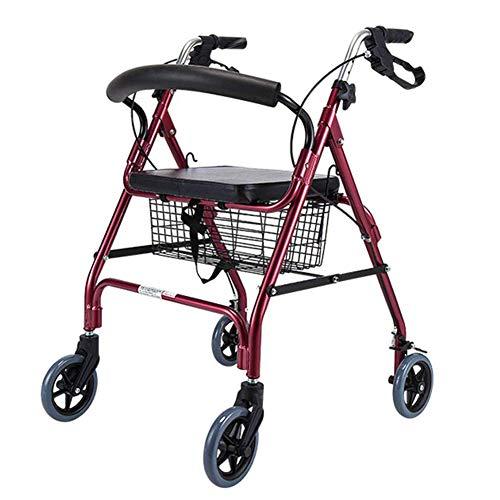 ZCPDP Ultraleichtklapp Rollator, Vier fahrbarer Rollator Walker mit Kabelbruch, Laufgestell mit Sitzplatte mit Bremse, Geeignet für Behinderte Außeneinsatz