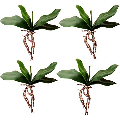 Yokoke 4 Pcs Big Size Artificial Green Phalaenopsis Simulation Moth Orchid Leaf Real Latex Touch Green Plant 5 Petals for Flowers Garden Bonsai Decor 10