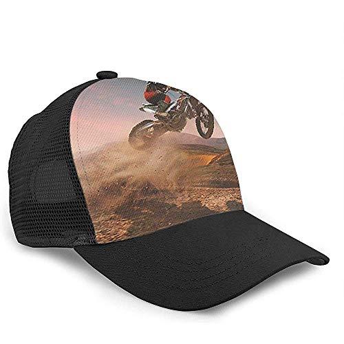 Gorra de béisbol con Visera de Malla de Sarga con Correa Ajustable Snapback Unisex-Motocross Bike Jump Dirt Black