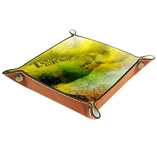 MUMIMI Ring Dish Jewelry Holder Trinket Tray Best Gifts For Women Yellow Budgie Parrot