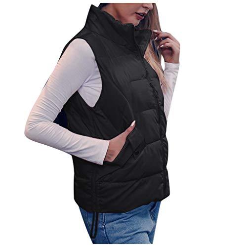 Lenfesh Veste MatelasséE De Fourrure Top Womens Fashion Paragraphe Court Paragraphe sans Manches Zipper Pocket Cotton Vest Veste