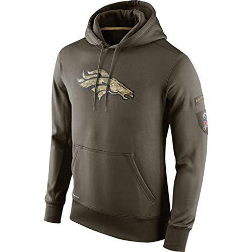 FWHACMT NFL Denver Broncos Hoodie für Herren Sweater 2019 Salute to Service Grün Kapuzenpullover Pullover Sweatshirts für American Football Fans Bekleidung Sweater Military Edition,L