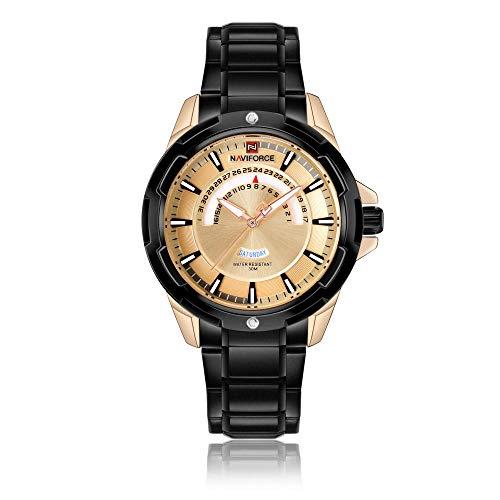 Reloj de Cuarzo para Hombre Reloj de Acero Inoxidable a Prueba de Agua con cronómetro-A