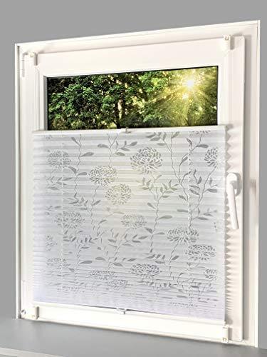 Gardinen Senay Klemmfix-Plissee mit ausgebranntem Blumenmotiv, lichtdurchlässig, komplett verspannt mit Klemmträger, Breite: 140 cm/Höhe: 130 cm, Farbe: weiß
