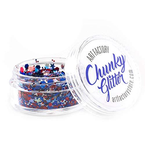 Art Factory Chunky Glitter (10 ml -Feux d'artifice), qualité cosmétique Polyester Glitter pour le visage, corps, cheveux
