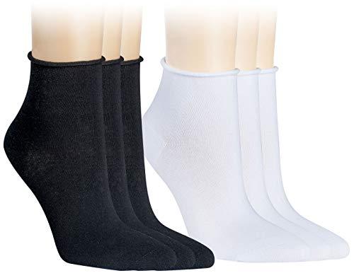 Vitasox 15267 Damen Socken Kurzsocken Rollrand einfarbig Schwarz und Weiß 6 Paar 35/38