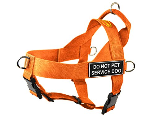 Dean & Tyler DT Universal No Pull Dog Harness with Do Not Pet Service Dog Patches, Orange, Medium