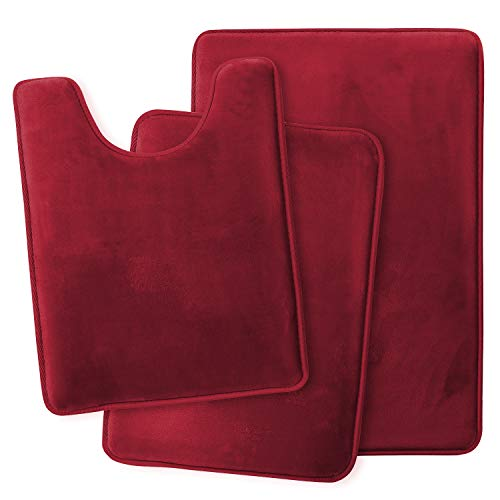 Clara Clark Memory Foam Bath Mat Ultra Soft Non Slip and Absorbent Bathroom Rug, Set of 3 - Small/Large/Contour, Burgundy Red, 3 Count