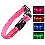 PcEoTllar Collar Luminoso Perro Recargable Collar LED para Perro Impermeable 3 Modos de Iluminación Alta Visibilidad y Seguridad Ajustable para Perros Pequeños Medianos Grandes - Rosado S