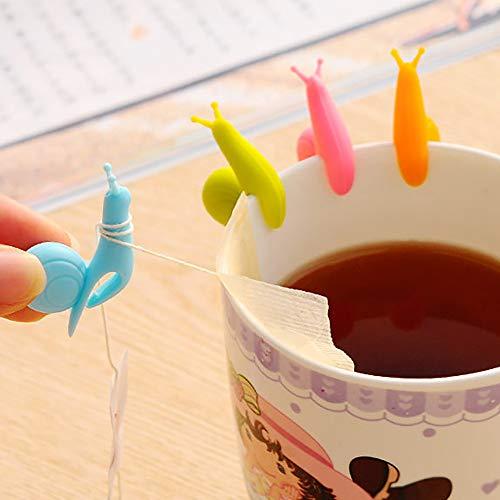 TAOtTAO 10 Schnecketeekannen-Teebeutel hängen 10 stücke Nette Schnecke Form Silikon Teebeutel Halter Tasse Becher Bonbonfarben Geschenk Set (A, 10 pcs)