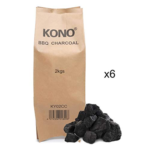 Kono Instant Light BBQ Charcoal Briquettes 6x2KG - Perfect for Charcoal BBQs and Outdoor Cooking. Large Chunks for Longer Burning Barbecues