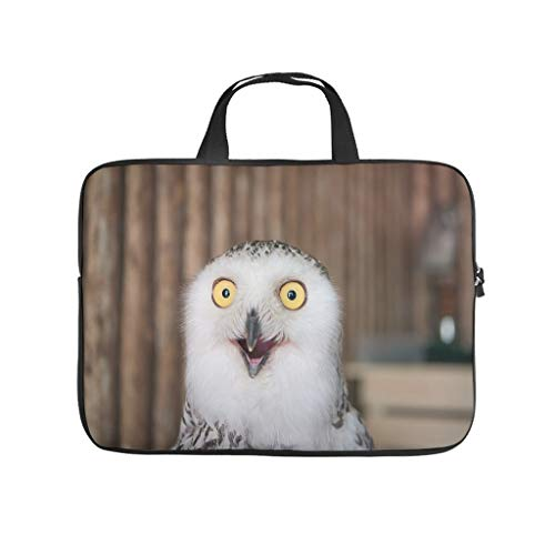 White Owl Wooden Background Multifuntional Super Lightweight Laptop Bag with Strap Hand Bag Computer Carry Bag for Office School Business Trip for Men Women White 13 Zoll