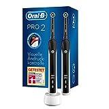 Oral-B PRO 2 2900 Black Edition Doppelpack Elektrische Zahnbürste/Electric Toothbrush, visuelle Andruckkontrolle für extra Zahnfleischschutz, 2 Modi inkl. Sensitiv, Timer, 2 Aufsteckbürsten, schwarz