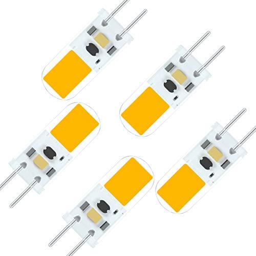 SEAMI Lampadine a LED 12V G6.35/GY6.35 4W Bi-pin Base Alogene 40W Sostituzioni Bianco Caldo 3000K Non-Dimmerabile (5 pezzi)[Classe di efficienza energetica A+]