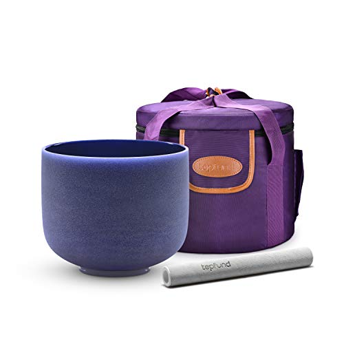 TOPFUND Indigo A Note Crystal Singing Bowl Third Eye Chakra 8 inch with Heavy Duty Carrying Case and Suede Striker