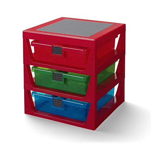 LEGO Aufbewahrungsregal mit 3 Schubladen, Einheitsgröße, Rot