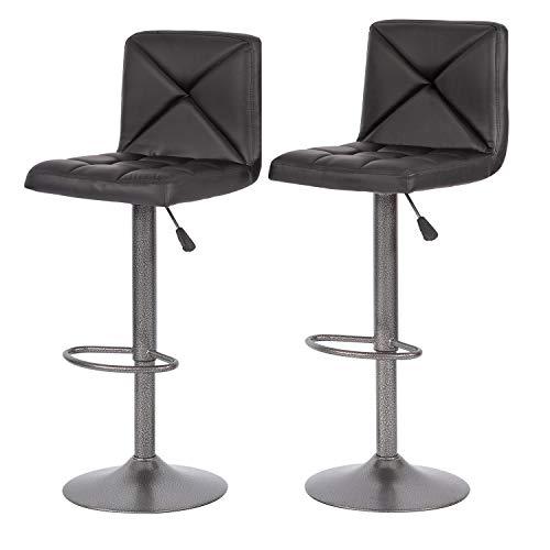 Set of 2 Bar Stools Modern Height Adjustable Swivel Barstools Counter Height Swivel Stool PU Leather Hydraulic Chair Bar Stools