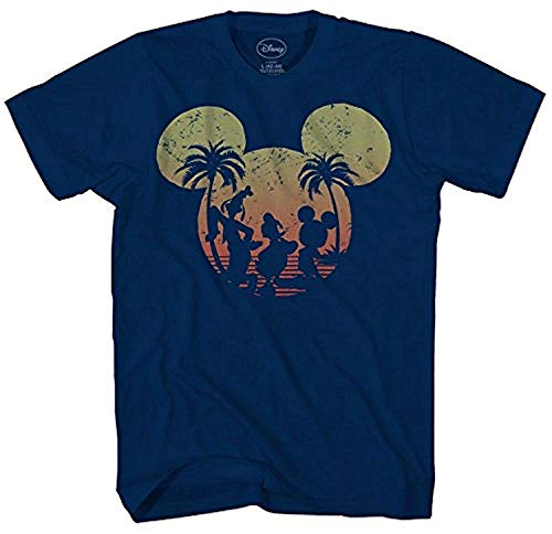 Disney Mickey Mouse Sunset Silhouette T-shirt (Large, Navy)