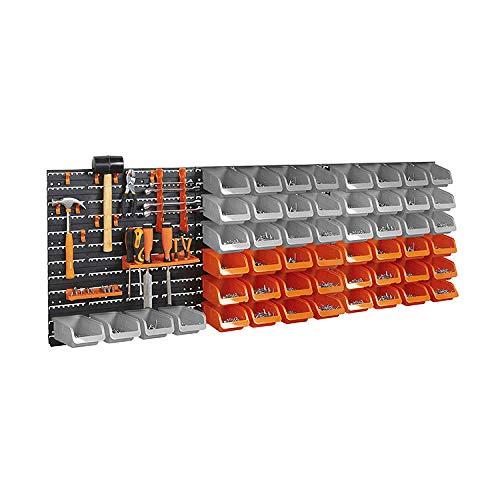 65pc Wall Mount DIY Panel Garage Shelving Storage Bin Rack Set Organiser