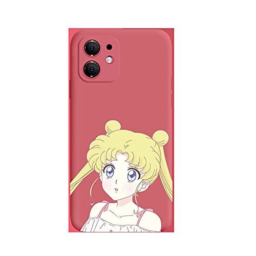 ZMMZ Sailor Moon Anime Series Funda para teléfono iPhone 6 7 8P XR, gel de sílice líquido antihuellas dactilares Full Body Protection Cover E-11