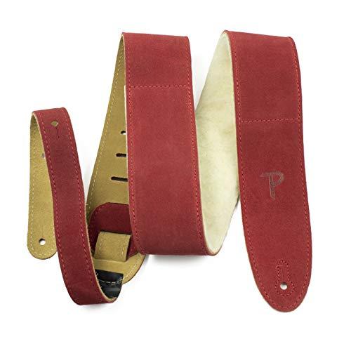 Perri's Leathers Ltd. - 1 Correa de Guitarra - Acolchado de Piel de Oveja - Cuero - Longitud Ajustable - Rojo - DL325S-203