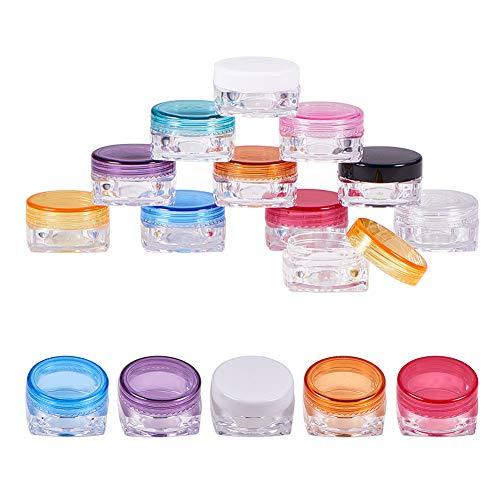 Benecreat Lege cosmeticadozen, doorzichtige plastic doosjes voor cosmetica, lipgloss, oogschaduw-houder met heldere deksels 5ml Mengkleur - 5 ml