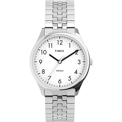 Timex Women's Modern Easy Reader 32mm Watch – Silver-Tone Case White Dial with Expansion Band