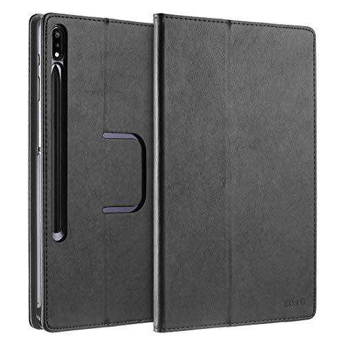 doupi Deluxe Custodia per Samsung Tab S7 Plus   S7+ (12,4 Pollici), Protezione con Smart Funzione Sleep Wake Up Etui Stare in Piedi Protettiva, Nero