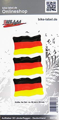Bike Label 300736N sticker 3D landenvlaggen Duitsland 3 stuks 50 x 33 mm