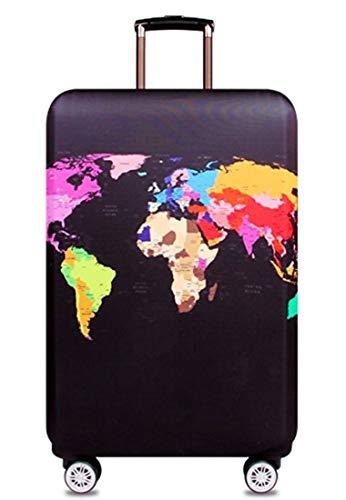 スーツケースカバー 伸縮素材 欧米風 世界地図 キャリーバッグ カバー トランクカバー 耐久性 お荷物カバー 防塵カバー 人気 おしゃれ かわいい S M L XL/Z748 (XL, 世界地図B)