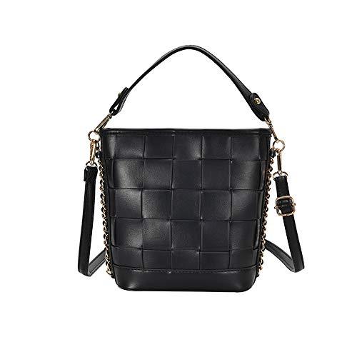 FHDD Damen Handtasche, PU Schultertasch mit Verstellbarer Schultergurt Lässiger Kleidungsstil Umhangetasche, für Die Universität Arbeiten,Schwarz