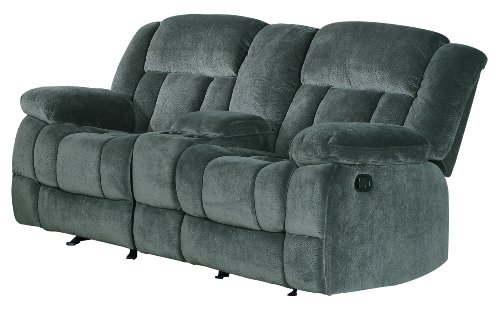 Homelegance Laurelton 79' Microfiber Double Glider Recliner Love Seat with Console, Gray