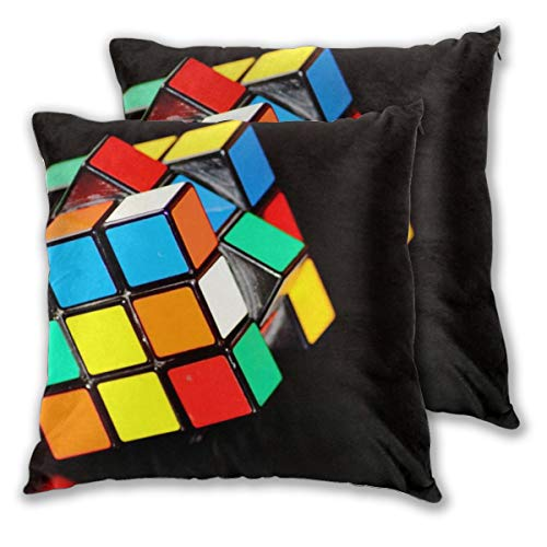 Juego de 2 fundas de cojín decorativas geométricas de 45 cm x 45 cm, cubo de Rubik