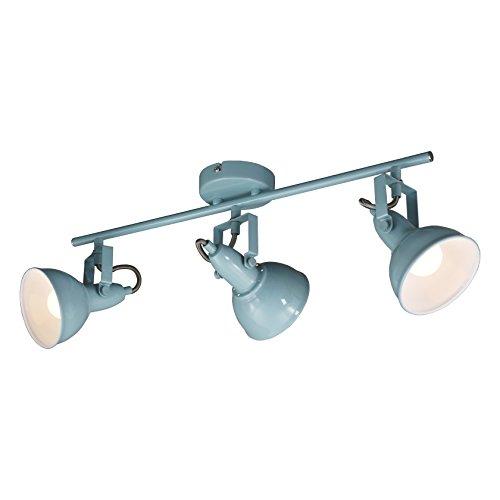 Briloner Leuchten - Deckenleuchte, Deckenlampe mit 3 dreh-und schwenkbaren Spots im retro / vintage Design, Fassung: E14 max. 40 Watt, Metall, Maße: 554x100x181 mm, Farbe: mint weiß