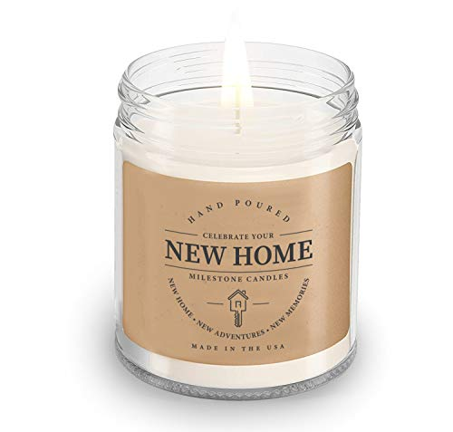 Milestone Candles New Home Clear Jar Soy Blend Candle 7.5 oz Glass, Made in The USA, 100% Cotton Wick, Reusable Keepsake, Beautiful Metal Lids