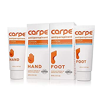 Carpe Antiperspirant Hand and Foot Lotion Package Deal  1 Hand and 1 Foot Tube - Save 17%  Stop Sweaty Hands and Sweaty Smelly Feet Dermatologist-Recommended Most-Popular