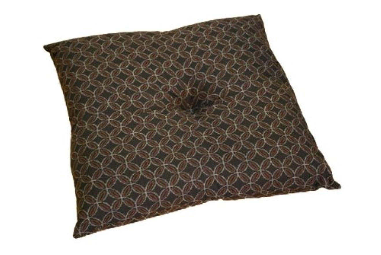 ルーフ差し迫ったメロディー小紋小座布団 ブラウン 45×45cm