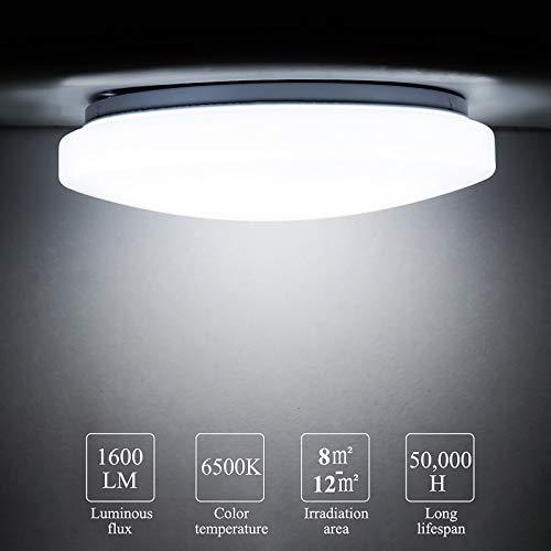 Lámpara LED de techo de 16 W, Miouldram IP54, resistente al agua, 6500 K, lámpara de 1300 lm, luz blanca fría, redonda, diámetro de 34 cm, ideal para baño, balcón, habitación infantil.