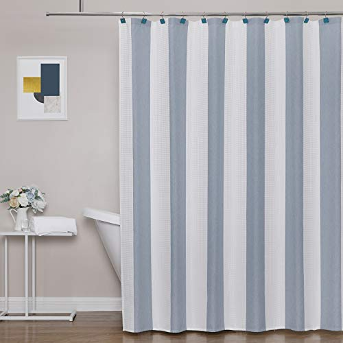 WEST LAKE Blue White Stripe Shower Curtain ,Waffle Weave Texture, Water Resistant, Button Holes, Vertical Stripes, 70 inched Wide, 72 inches Long