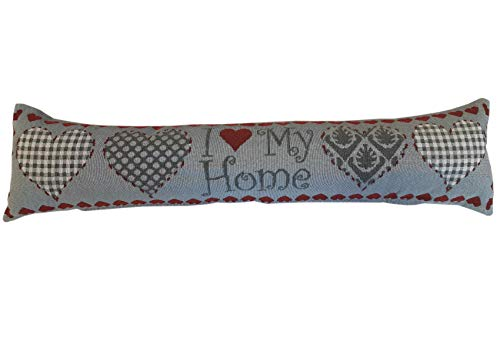 Alan Symonds Fabric Draught Excluder Door or Window Draft Guard Cushion with Velvet Back (Hearts)