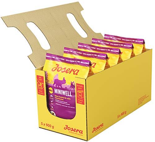 JOSERA Miniwell (5 x 900 g)   Hundefutter für kleine Rassen   extra verträgliche Rezeptur mit Geflügel   Super Premium Trockenfutter für ausgewachsene Hunde   5er Pack