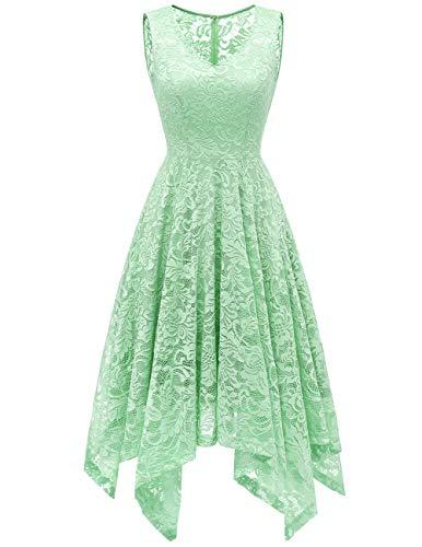 Meetjen Damen Elegant Spitzenkleid V-Ausschnitt Unregelmässig Vokuhila Kleid Festlich Cocktail Abendkleid Mint M